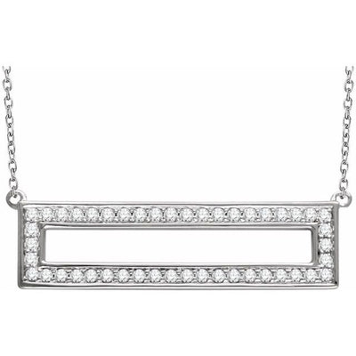 "14K White 3/8 CTW Diamond Rectangle 16-18"" Necklace - TreasureFineJeweler"