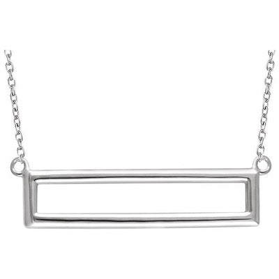 "14K White Rectangle 16-18"" Necklace"