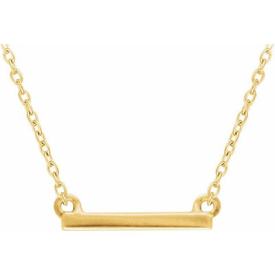 "14K Yellow 18x1.5 mm Petite Bar 16-18"" Necklace"