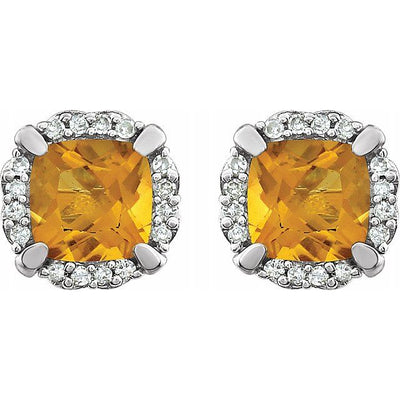 14K White Citrine & 1/10 CTW Diamond Earrings