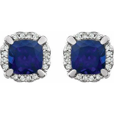 14K White Created Blue Sapphire & 1/10 CTW Diamond Earrings