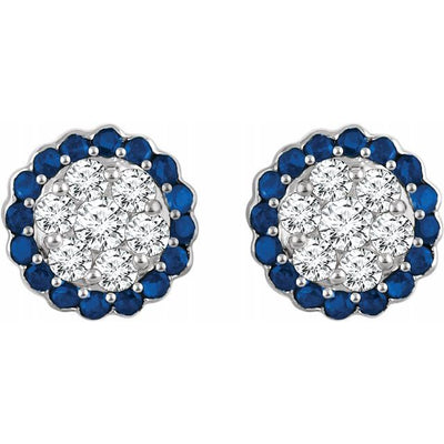 14K White Blue Sapphire & 5/8 CTW Diamond Earrings
