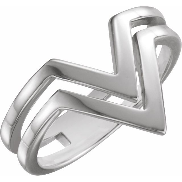 "Sterling Silver Double Row ""V"" Ring"