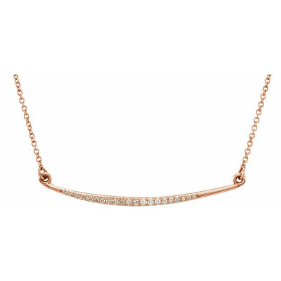 "14K Rose 1/8 CTW Diamond Curved Bar 16"" Necklace - TreasureFineJeweler"