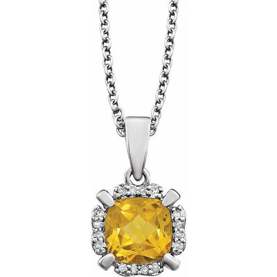 "14K White Citrine & .05 CTW Diamond 18"" Necklace"