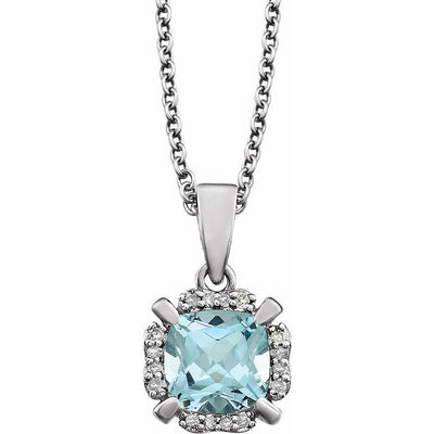 "14K White Sky Blue Topaz & .05 CTW Diamond 18"" Necklace"
