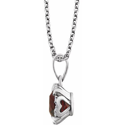"14K White Mozambique Garnet & .05 CTW Diamond 18"" Necklace"