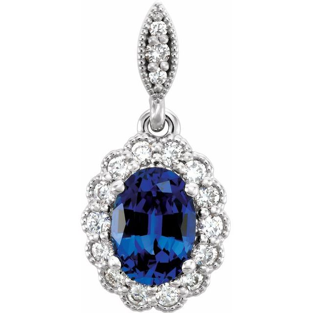 14K White Chatham® Created Blue Sapphire and 1/5 CTW Diamond Pendant