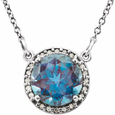 "14K White 8 mm Round Chatham® Created Alexandrite & .05 CTW Diamond 16"" Necklace"