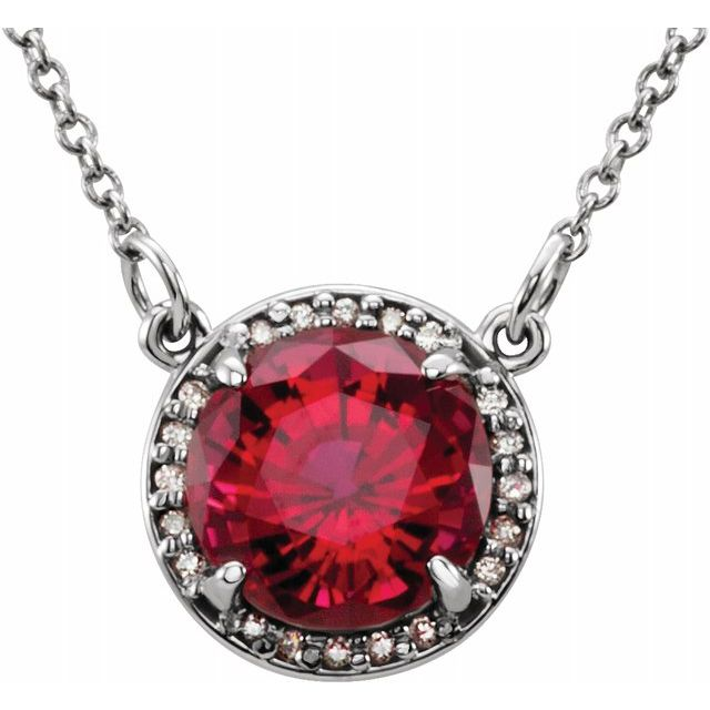 "14K White 8 mm Round Chatham® Created Ruby & .05 CTW Diamond 16"" Necklace"