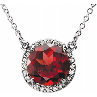 "14K White 8 mm Round Mozambique Garnet & .05 CTW Diamond 16"" Necklace"