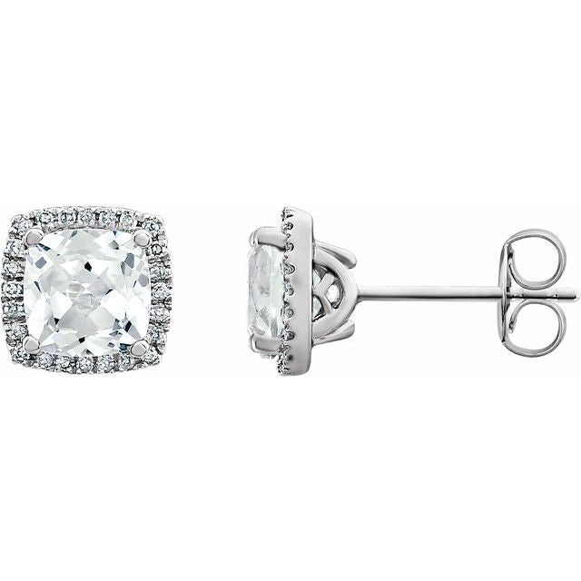 14K White Created White Sapphire & 1/8 CTW Diamond Earrings