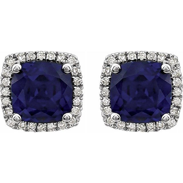 14K White Created Blue Sapphire & 1/8 CTW Diamond Earrings