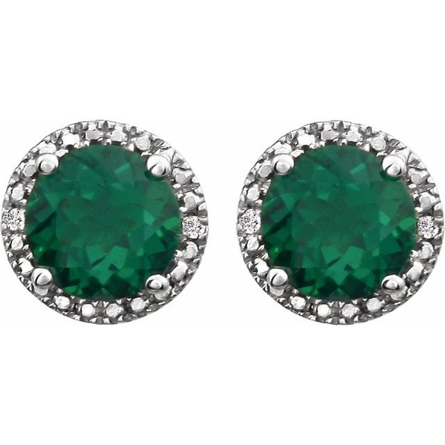 Sterling Silver Created Emerald & .01 CTW Diamond Earrings