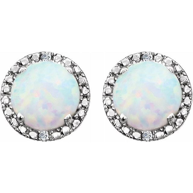 Sterling Silver Created Opal & .01 CTW Diamond Earrings