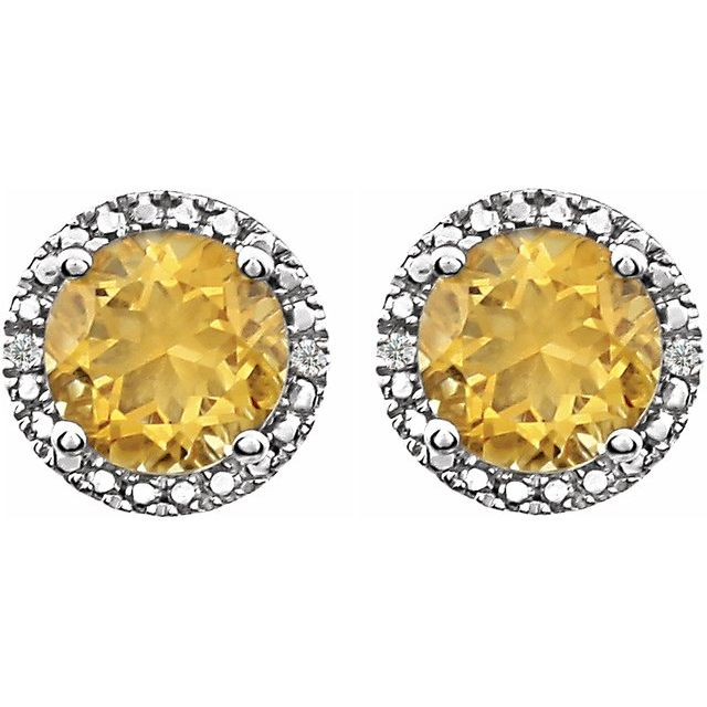 Sterling Silver Citrine & .01 CTW Diamond Earrings