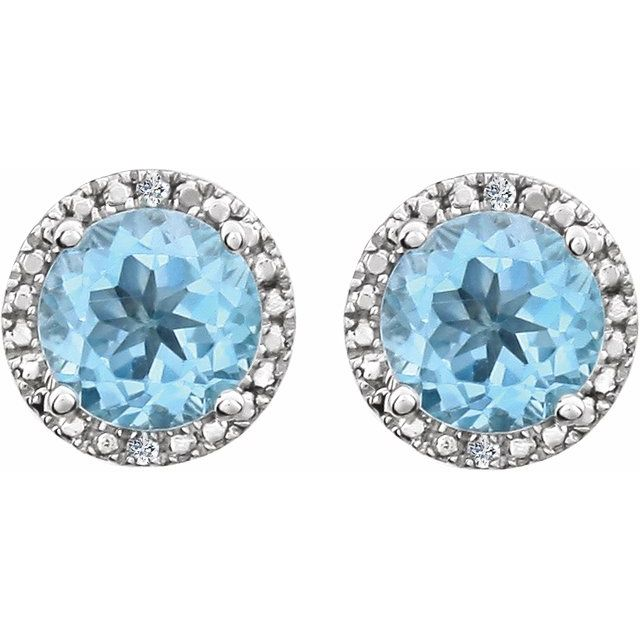 Sterling Silver Sky Blue Topaz & .01 CTW Diamond Earrings