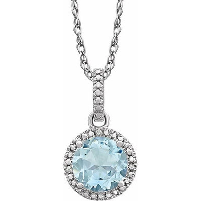 "Sterling Silver Aquamarine & .01 CTW Diamond 18"" Necklace"