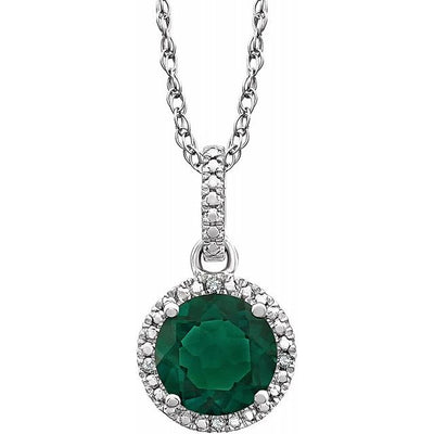 "Sterling Silver Lab-Grown Emerald & .01 CTW Diamond 18"" Necklace"