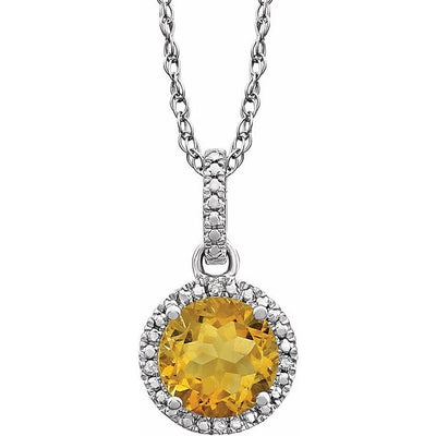 "Sterling Silver Citrine & .01 CTW Diamond 18"" Necklace"