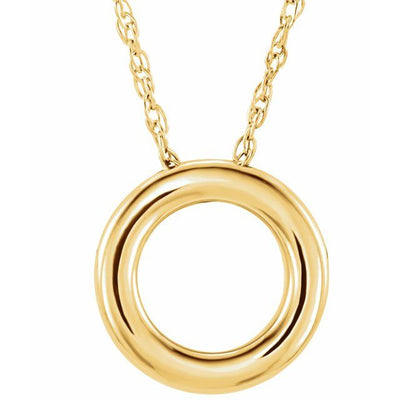 "14K Yellow 13 mm Circle 18"" Necklace"
