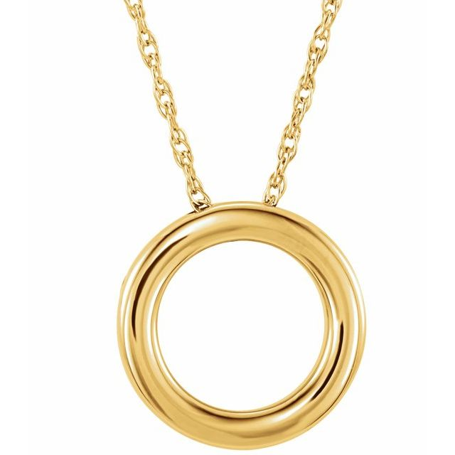 "14K Yellow 15 mm Circle 18"" Necklace"