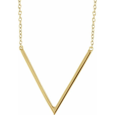 "14K Yellow ""V"" 16-18"" Necklace"