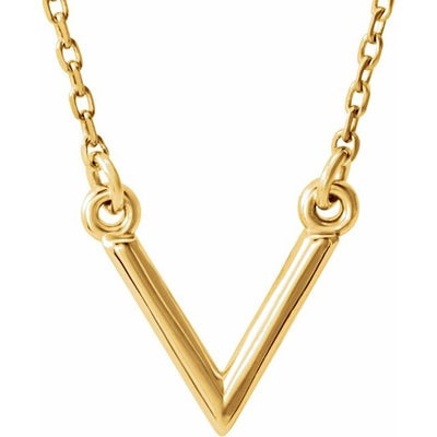 "14K Yellow ""V"" 16.5"" Necklace"