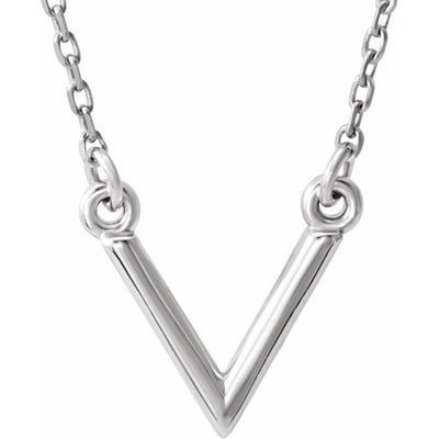 "14K White ""V"" 16.5"" Necklace"