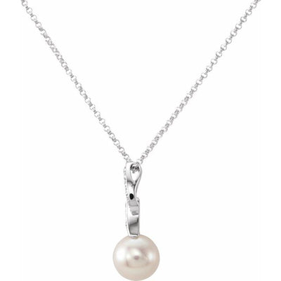 "14K White 8 mm Freshwater Cultured Pearl & .08 CTW Diamond 18"" Necklace"