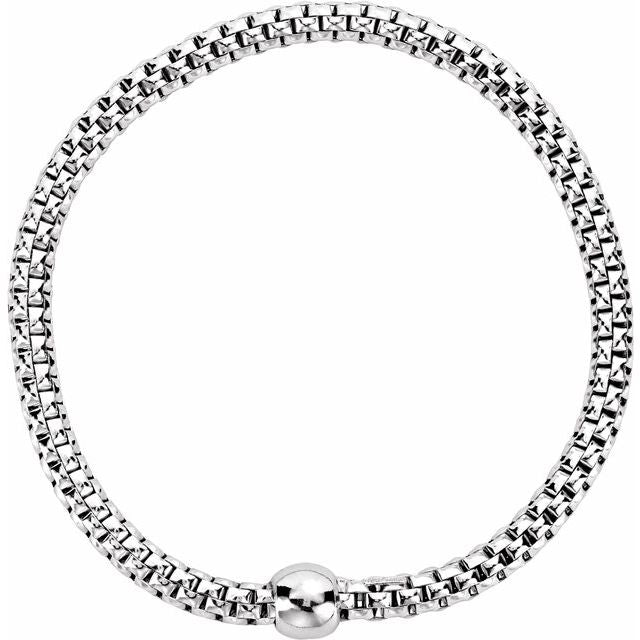 Sterling Silver White Rhodium Plated 4.3 mm Woven Stretch Bracelet