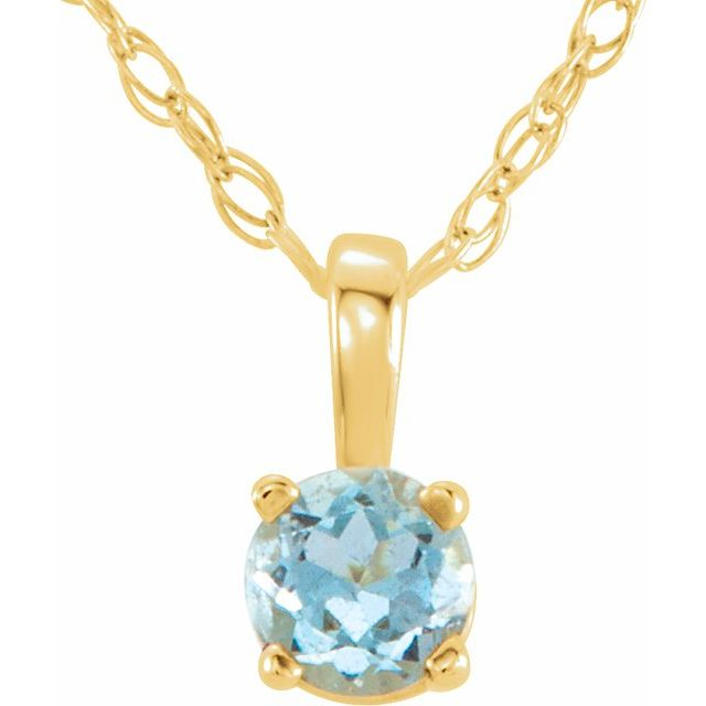 "14K Yellow 3 mm Round March Imitation Aquamarine Youth Birthstone 14"" Necklace"