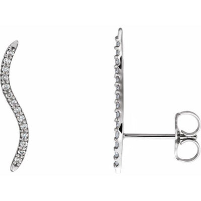 14K White 1/6 CTW Diamond Ear Climbers