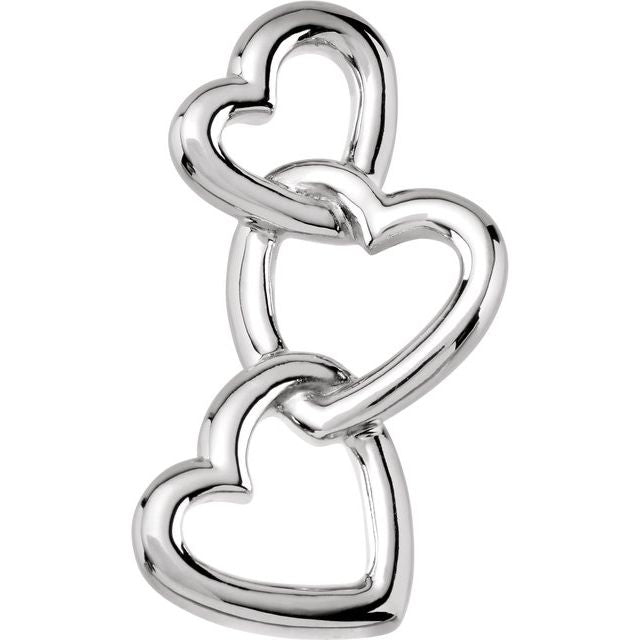 14K White Linked Hearts Pendant