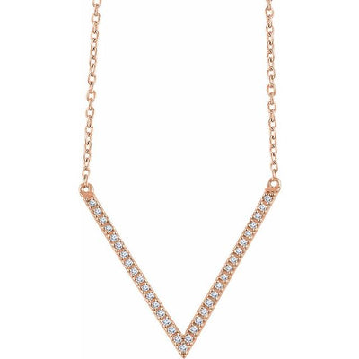 "14K Rose 1/6 CTW Diamond ""V"" 16-18"" Necklace"
