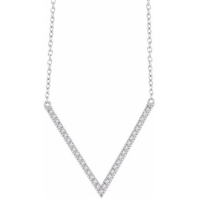"14K White 1/6 CTW Diamond ""V"" 16-18"" Necklace"