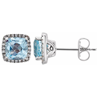 14K White Sky Blue Topaz & 1/8 CTW Diamond Earrings
