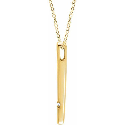 "14K Yellow .015 CT Diamond Bar 16-18"" Necklace"