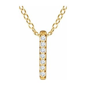 "14K Yellow .05 CTW Diamond Bar 16-18"" Necklace - TreasureFineJeweler"