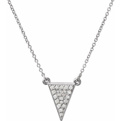 "14K White 1/5 CTW Diamond Triangle 16.5"" Necklace"