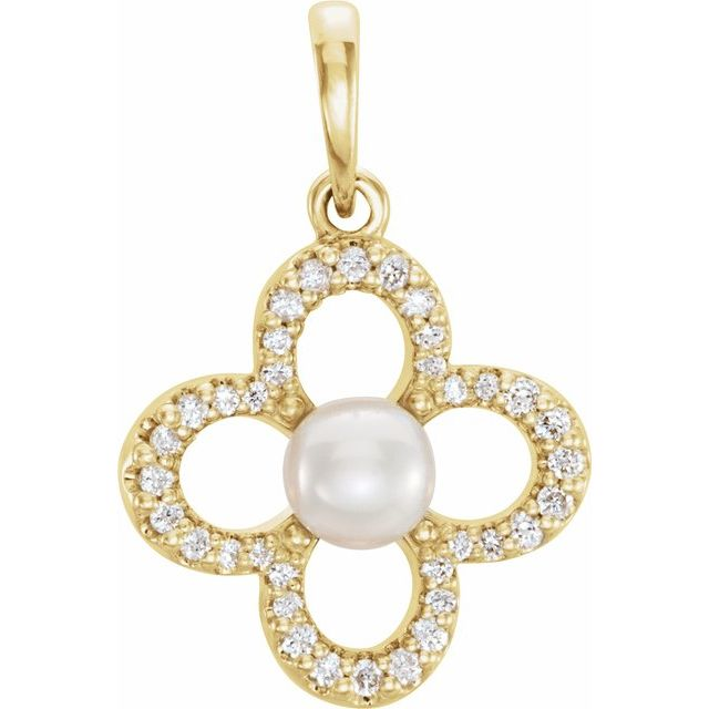 14K Yellow Freshwater Cultured Pearl & 1/6 CTW Diamond Pendant