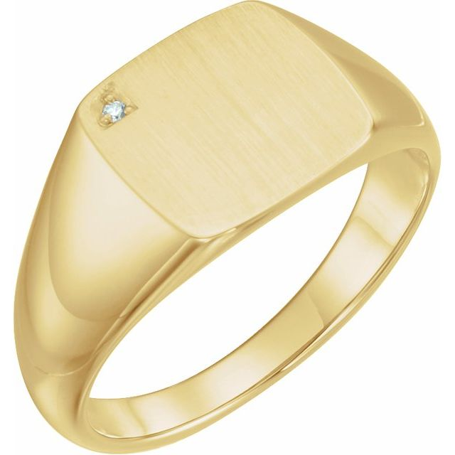 14K Yellow .0075 CT Diamond 12 mm Square Signet Ring