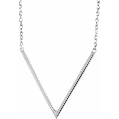 "14K White ""V"" 16-18"" Necklace"