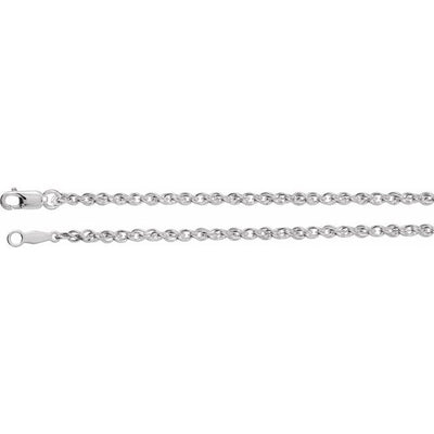 "Sterling Silver 2 mm 24"" Rope Chain with Lobster Clasp"