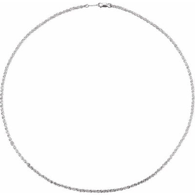 "Sterling Silver 2 mm 16"" Rope Chain with Lobster Clasp"