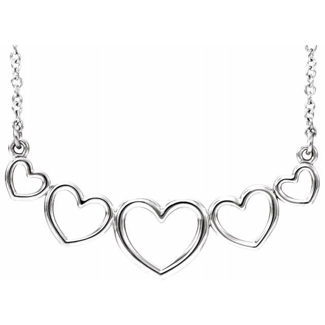 "Sterling Silver Graduated Heart 17 1/2"" Necklace"