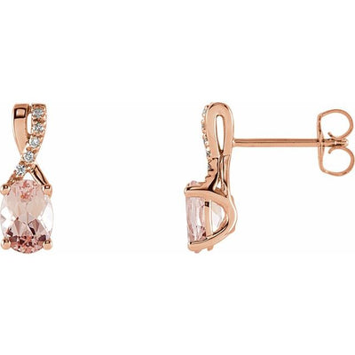 14K Rose Morganite & .05 CTW Diamond Earrings
