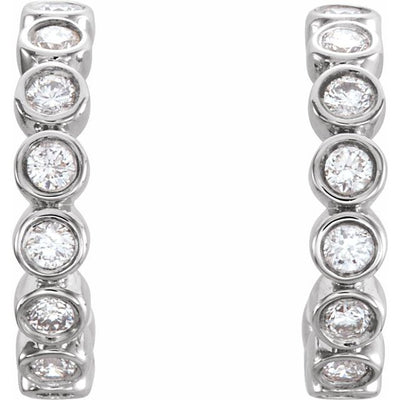 14K White 1/4 CTW Diamond Hoop Earrings