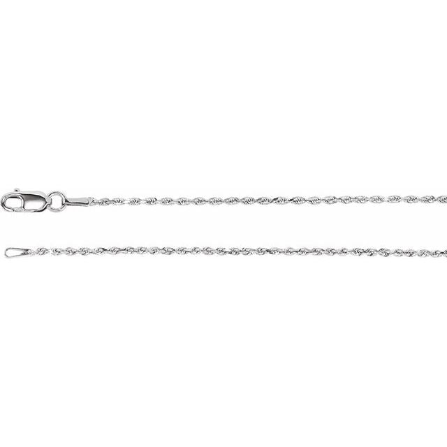 "Sterling Silver 1.3 mm Diamond Cut Rope 24"" Chain"