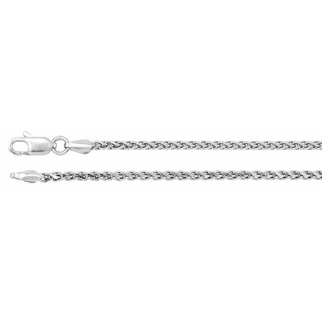 "14K White 2 mm Diamond Cut Wheat 16"" Chain"